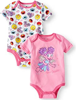 Sesame Street Elmo Abby Cadabby Fairy Themed Infant Bodysuit 2-Pack