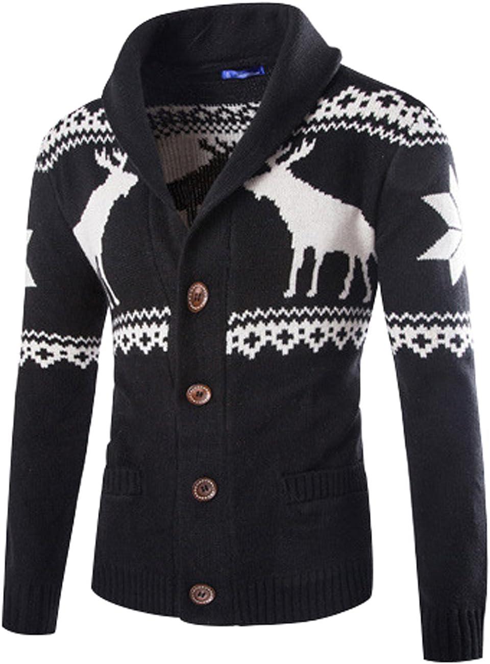 Yolee Men's Deer Knit Sweater Christmas Sweater Cardigan Sweater