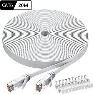 Cat6 LANケーブル 20m, Cat-6 UTP 極薄 フラットケーブル 1Gbps 250MHz 高速 柔らか 踏み付けに強い RJ45コネクタ付き 爪折れ防止 20M ホワイト