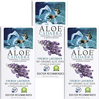 Aloe Cadabra Natural Personal Lubricant and Organic Vaginal Moisturizer for Men, Women & Couples - French Lavender, 2.5 Ounce (Pack of 3)