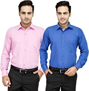 Super Weston Plain White Pink and Blue Casual Shirts For Men's For Summers