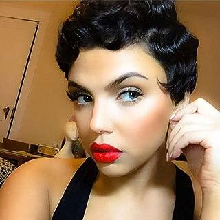 CTRLALT Finger Wave Wig Black Short Curly Hair Nuna Wigs Synthetic Wig for Women Cute Hair
