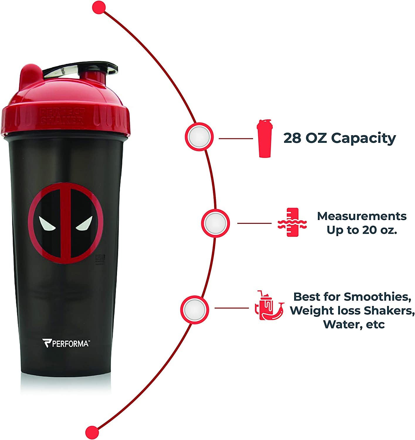 Amazon.com: Performan PerfectShaker Deadpool Shaker Bottle With Actionrod Mixing Technology : Sports & Outdoors