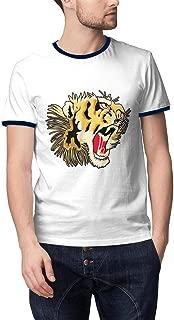Man's Japan Beautiful Tiger Roar Casual Cotton Fishing Round Neck Short Sleeve T Shirt
