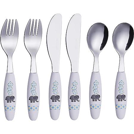 Exzact Couverts enfant en inox - 6 Pièces: 2 x Fourchettes, 2 x Couteaux, 2 x Cuillères (l'éléphant x 6)