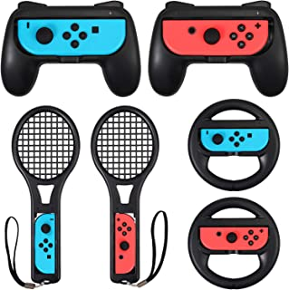 LiNKFOR 3 in 1 Joy-Con Accessories Bundle | Tennis Racket for Mario Tennis Aces Game |Grips Handle for Switch Joy-Con | St...