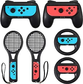 LiNKFOR 3 in 1 Joy-Con Accessories Bundle for Nintendo Switch   Tennis Racket for Mario Tennis Aces Game  Grips Handle for Nintendo Switch Joy-Con   Steering Wheel Accessories Set for Mario Kart