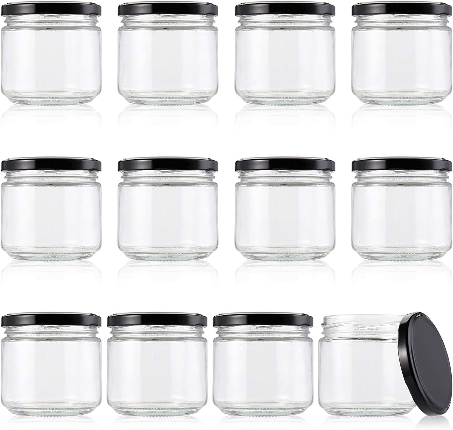 Lawei 12 Pack Glass Jars with Black Lids - 10 Oz Glass Mason Jars Clear Glass Candle Jars for Jams Honey Baby Foods Craft Spice Wedding Favors