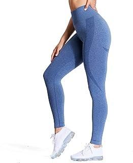 Aoxjox Women's High Waist Workout Gym Smile Contour Seamless Leggings Yoga Pants Tights