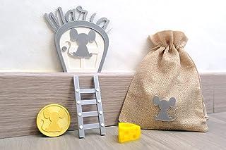 Puerta ratoncito Perez Personalizada con nombre. Con bolsa de regalo para niños y niñas y moneda dorada. HECHA EN ESPAÑA
