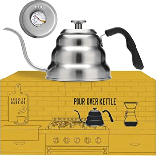 Pour Over Coffee Kettle with Thermometer for Exact Temperature - Gooseneck Pour Over Kettle for Drip Coffee and Tea (1.0 Liter | 34 fl oz)