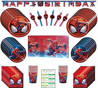 Spiderman Birthday Party Supplies Pack: Big and Small Plates, Cups, Napkins, Table Cover, Candles - 16 Guests