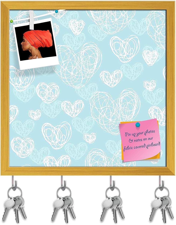 Artzfolio Romantic Doodle Key Holder Hooks   Notice Pin Board   golden Frame 6 X 6Inch