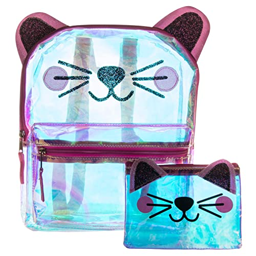 9b6c8cccf70d Glitter Cat Face Backpack Set - Holographic Clear Cat Face Mini Backpack Set