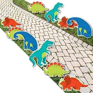 Roar Dinosaur - T-Rex, Triceratops, Stegosaurus and Brontosaurus Lawn Decorations - Outdoor Dino Mite Baby Shower or Birthday Party Yard Decorations - 10 Piece