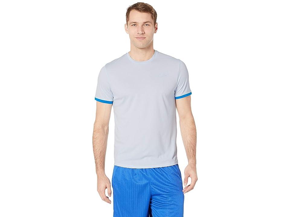 Nike NikeCourt Dri-FIT Short Sleeve Tennis Top (Half Blue/Photo Blue/Half Blue) Men