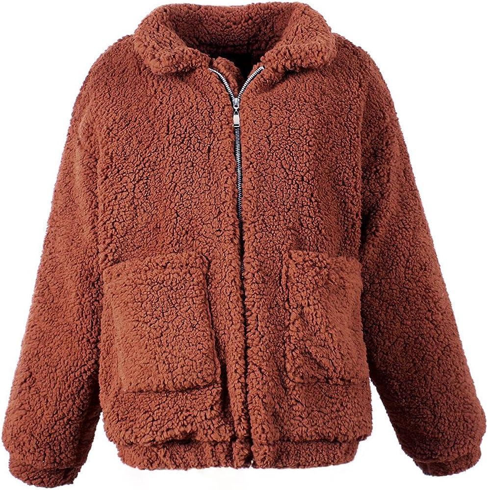 TOPUNDER Women's Zipper Coat Casual Lapel Fleece Fuzzy Faux Shearling Warm Winter Oversized Outerwear Jackets
