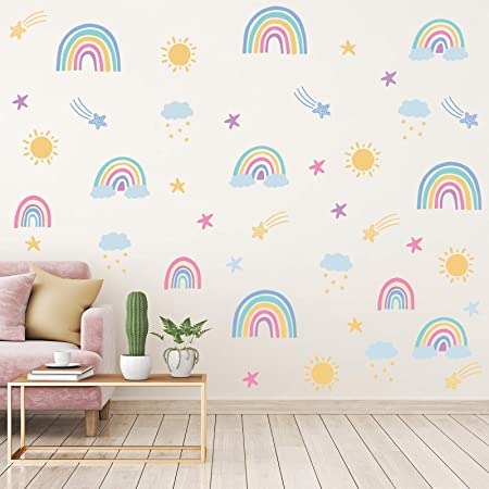 Iarttop Colorful Rain Rainbows Wall Decal Raindrop Wall Sticker Rainbow Wall Sticker For Kids Room Decor Diy Mural Art Home Decoration Home Kitchen
