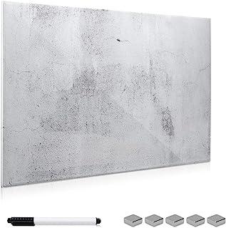 Navaris Tablero magnético de Cristal de 90x60CM - Pizarra magnética de Vidrio con diseño de Cemento - Tablero de Notas con Marcador e imanes