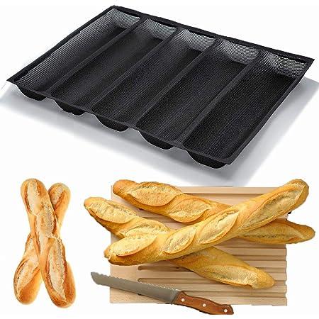Moule à baguette Silicone Antiadhésif Moules à pain français perforés pour plaque de cuisson, Moules à hot-dog, Tapis de cuisson Moule à pain Plaque de cuisson en bâton 5 Pain Noir