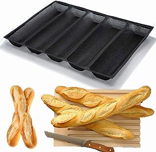 Moule à Baguette Silicone Antiadhésif Moules à Pain français perforés pour Plaque de Cuisson, Moules à Hot-Dog, Tapis de C...