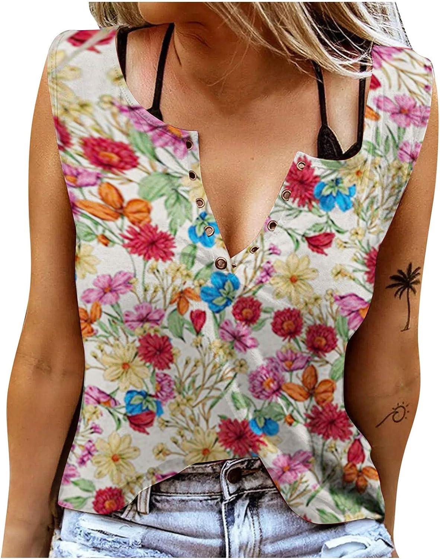 JPLZi Tank Tops WomenV Neck Print Vest Sleeveless T-Shirt Teen Girls Funny Graphic Tee Casual Vacation Shirt