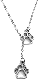 Freena Design Tiny Paws Lariat Y-Necklace, Puppy Footprints Necklace, Dogs Lover Gift Pendant