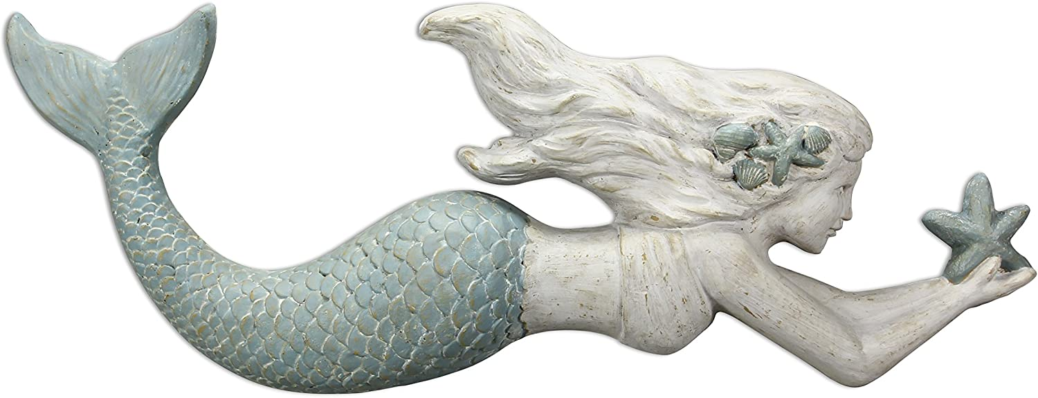 Young's Inc 29  x 2.5  x 10.75  Cast Resin Wall Mermaid Sign (17324)