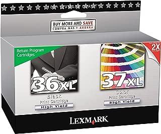 Lexmark 18C2249 36XL 37XL X3650 X4650 X5650 X6650 X6675 Z2420 Ink Cartridge (Black & Color, 2-Pack) in Retail Packaging