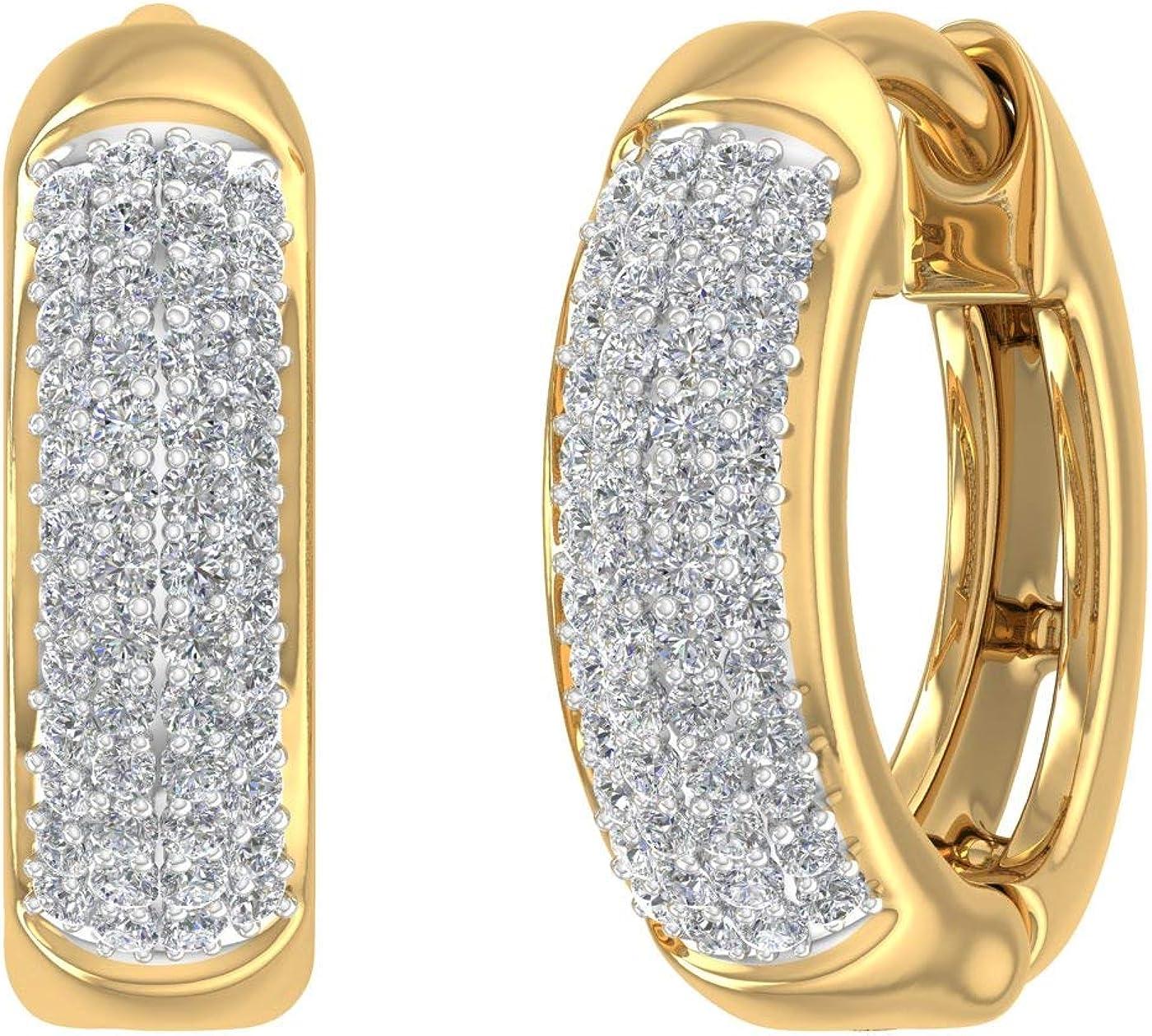 1 1年保証 4 Carat Diamond Hoop Solid in 10K 買い取り Earrings Gold