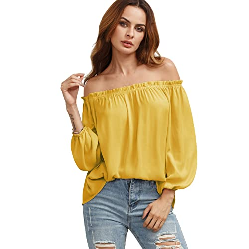 aa85a78ef4 SheIn Women's Solid Color Off Shoulder Bishop Long Sleeve Blouses Top