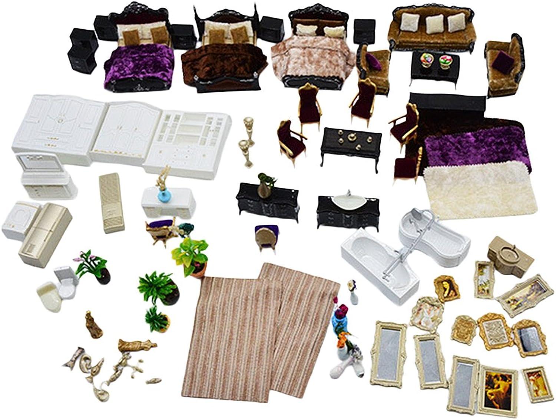 Homyl 1 25 Europische Stil DIY Miniatur Mbel Puppenhaus Puppenstube Set - Schwarz