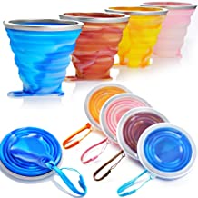 Graduated Portable 2 Set X 9.22oz + 2 Set X 5.1oz BPA Free Silicone Folding Camping Cup with Lids 4 Set Family Expandable Drinking Cup Set ME.FAN Silicone Collapsible Travel Cup