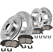 Callahan CDS02283 FRONT 260mm + REAR 258mm D/S 4 Lug [4] Rotors + Ceramic Brake Pads + Clips [ for BMW 325 318 328 E30 ]