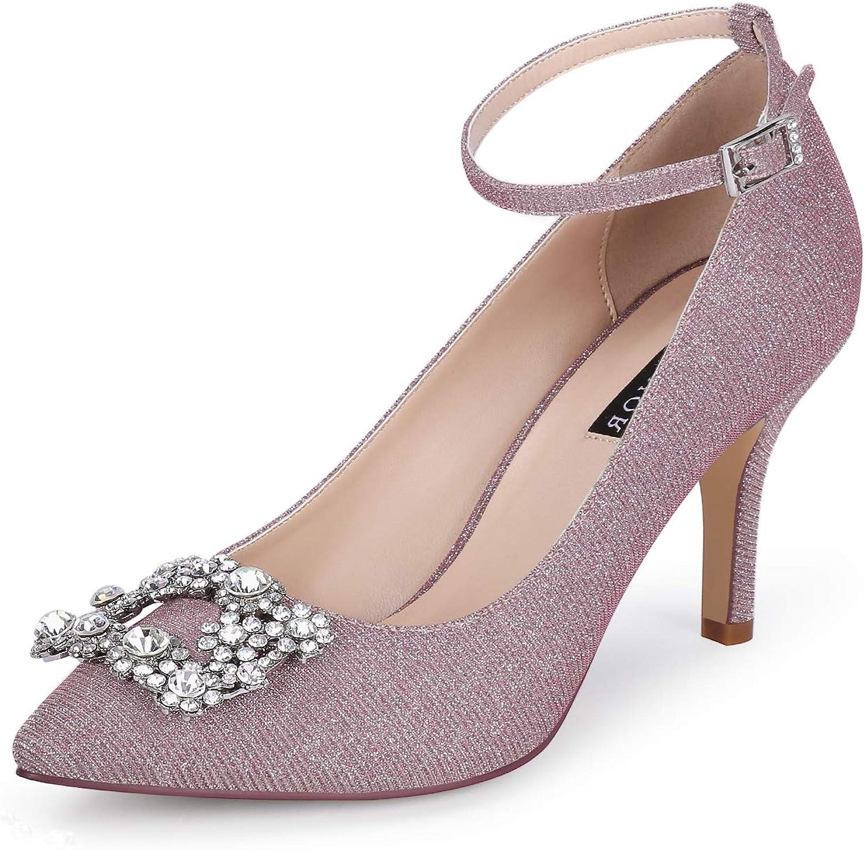 ERIJUNOR Glitter Pumps for Women Pointy Toe Max 89% OFF Heels Eveni Prom Price reduction Mid