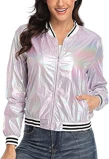 Womens Shiny Jacket Holographic Metallic Sparkle Shimmering UV Sun Protection Disco Party Lightweight Bomber Jacket