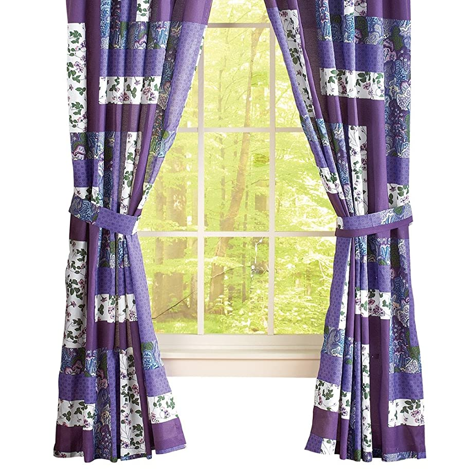 Collections Etc Caledonia Lavender Floral Patchwork Rod Pocket Window Curtains, Purple, Panel Pair