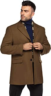 Men's Short Wool Blend Coat Notched Collar Single Breasted Pea Coat with Plaid Scarfs