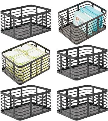 "mDesign Flat Modern Metal Bathroom Storage Organizer Bin Basket for Vanity, Towels, Cabinets, Shelves - Holds Sponges, Make-Up, Shampoo, Conditioner, Cosmetics, Hand Towels - 12"" x 9"" - 6 Pack - Black"
