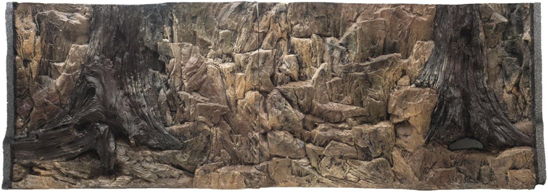 Aqua Maniac 3D Aquarium Background Rock and Root with Vents in Two Sections, Polyresin (Not Foam), 46 cm Thick, Unique Aqua Decor (146x45cm)