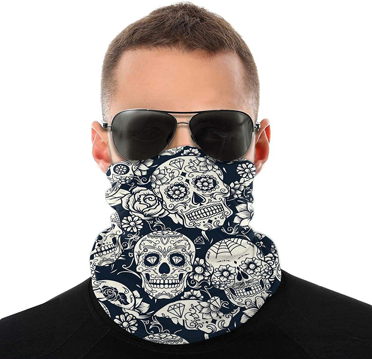 Kiuloam Bandanas Face Mask, Stylish Paisley Floral Skull Neck Gaiter Mask Headband for Men Women Face Scarf Dust, Outdoors, Sports