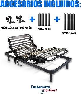 Duérmete Online Cama Eléctrica Articulada 5 Planos Bastidor Reforzado y Taco de Caucho con Patas de 27cm y 35cm, Haya, Pintura Epoxi Gris, 90x190