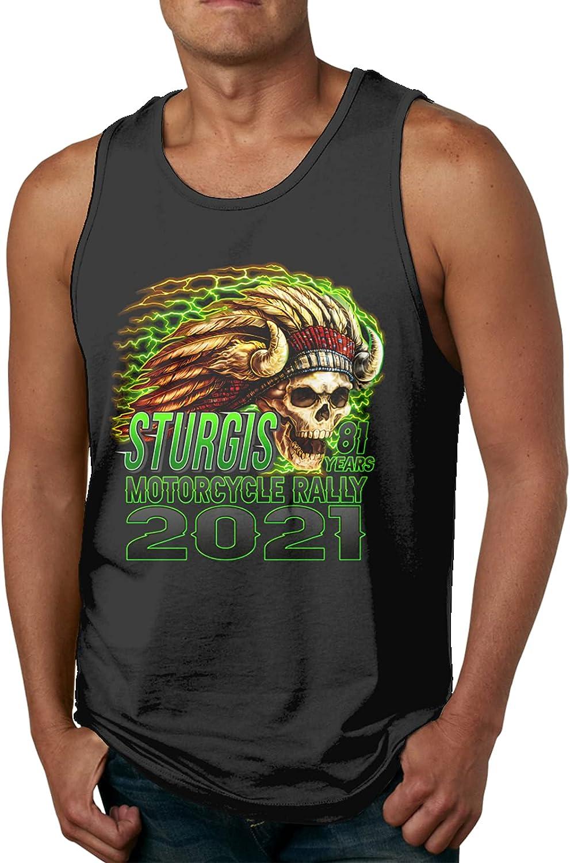 Florworldlife 2021 Sturgis Motorcycle Rally Men's Quick Dry Workout Muscle Tank Top Sleeveless Running T Shirt