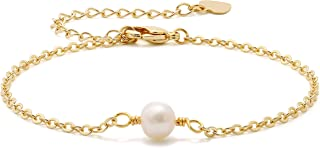 18K Gold Chain Bracelet Tiny Pearl Turquoise Link Bracelet Sets Minimalist Layering Stacking Jewelry for Women