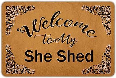"""Front Door Mat Welcome Mat WelcometoMySheShed Rubber Non Slip Backing Funny Doormat Indoor Outdoor Rug 23.6""""(W) X 15.7""""(L)"""