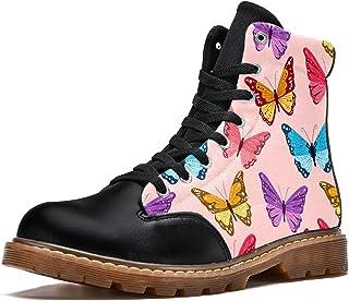 LORVIES Modèle de vol d'essaim de Papillons Roses Bottes d'hiver Chaussures Montantes en Toile à Lacets pour Hommes