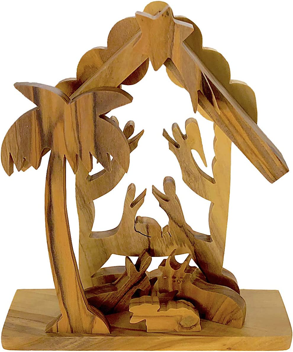 From The Special Campaign Earth Now free shipping - Olive Wood Tabletop Nativity Scene Fai Creche