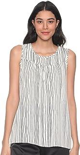Andiamo Fashion Striped Sleeveless Round Neck Blouse for Women XL