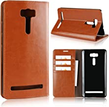 ASUS Zenfone 2 Laser ZE601KL Case, iCoverCase Genuine Leather Case,Shockproof Heavy Duty Protective[Bracket Function][Card Slot] with Folio Flip Wallet Leather Case(Khaki)