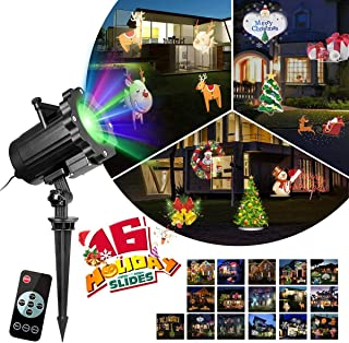 KINGWILL Christmas Projector Lights 16 Patterns Landscape Light Projectior Outdoor Holiday Projector Snowflake with Wireless Remote for Christmas Decorations, Thanksgiving Decor, New Year